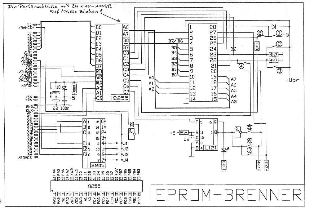 zx81 eprommer parallel port diagram schematic eprommer(jpg file, 88 kbytes)